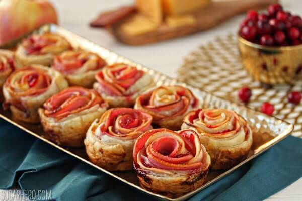 Apple Cranberry Gouda Puff Pastry Roses | From SugarHero.com