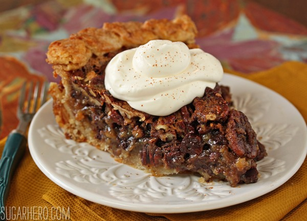 Deep Dish Pecan Pie | From SugarHero.com