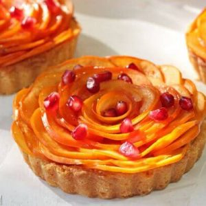 Persimmon Almond Rosette Tart | From SugarHero.com