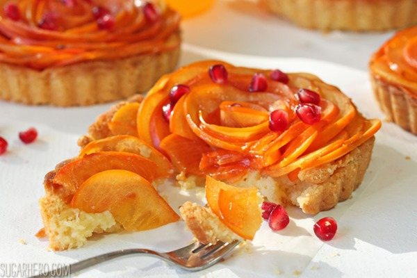 Persimmon Almond Rosette Tarts | From SugarHero.com