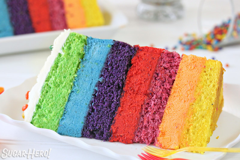 Rainbow Mousse Cake | From SugarHero.com