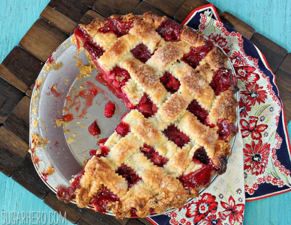 Strawberry Rhubarb Pie | From SugarHero.com