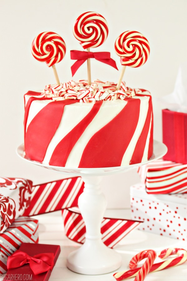 candy cane chocolate cake from sugarhero com