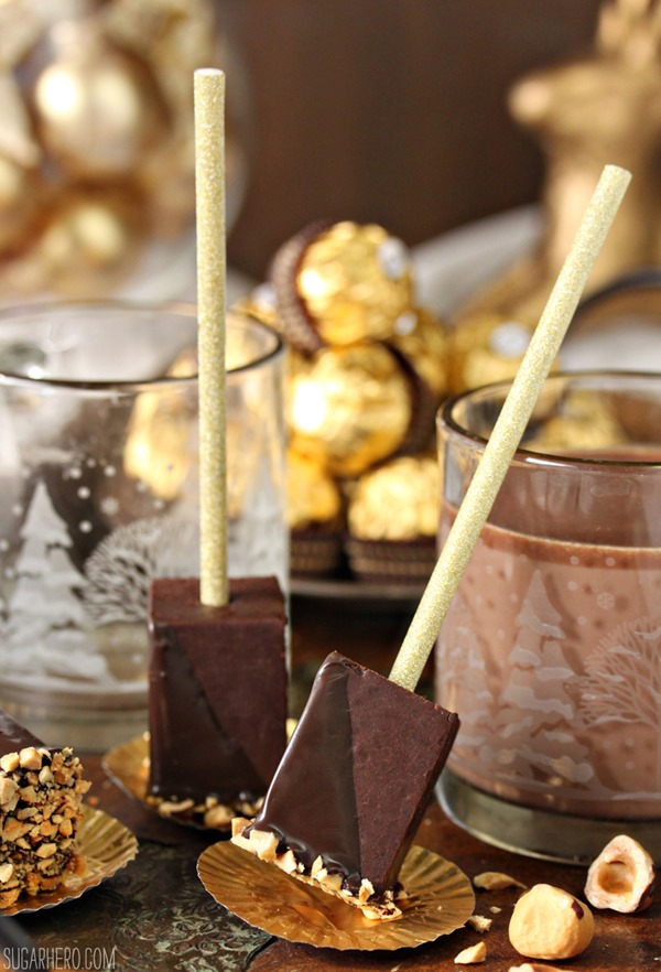 Hazelnut Hot Chocolate On A Stick | From SugarHero.com