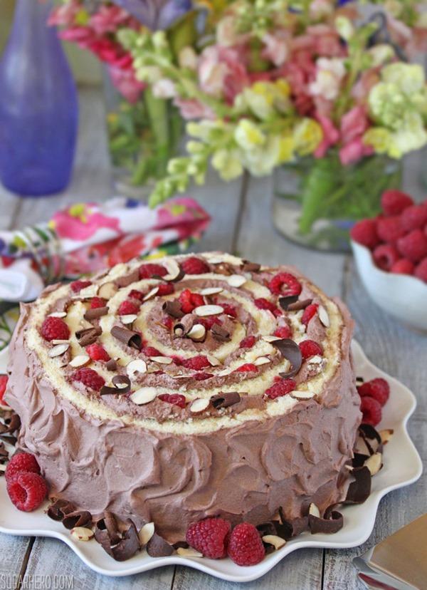 Raspberry Almond Spiral Cake | From SugarHero.com
