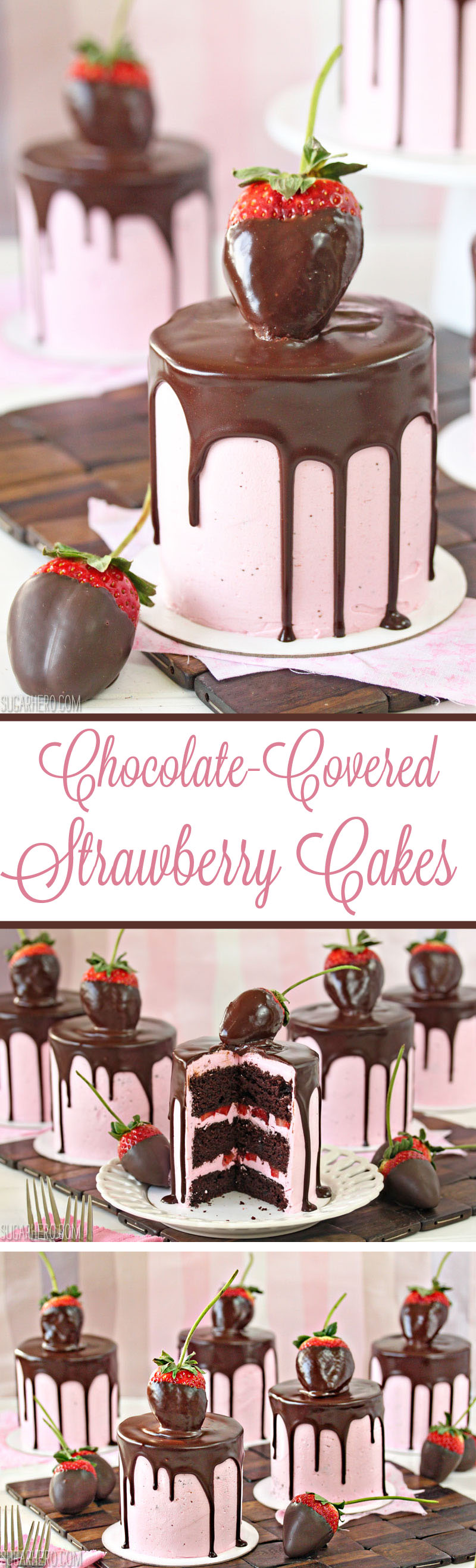 Chocolate-Covered Strawberry Cakes - sweet mini chocolate cakes with fresh strawberry buttercream. Beautiful and romantic! | From SugarHero.com