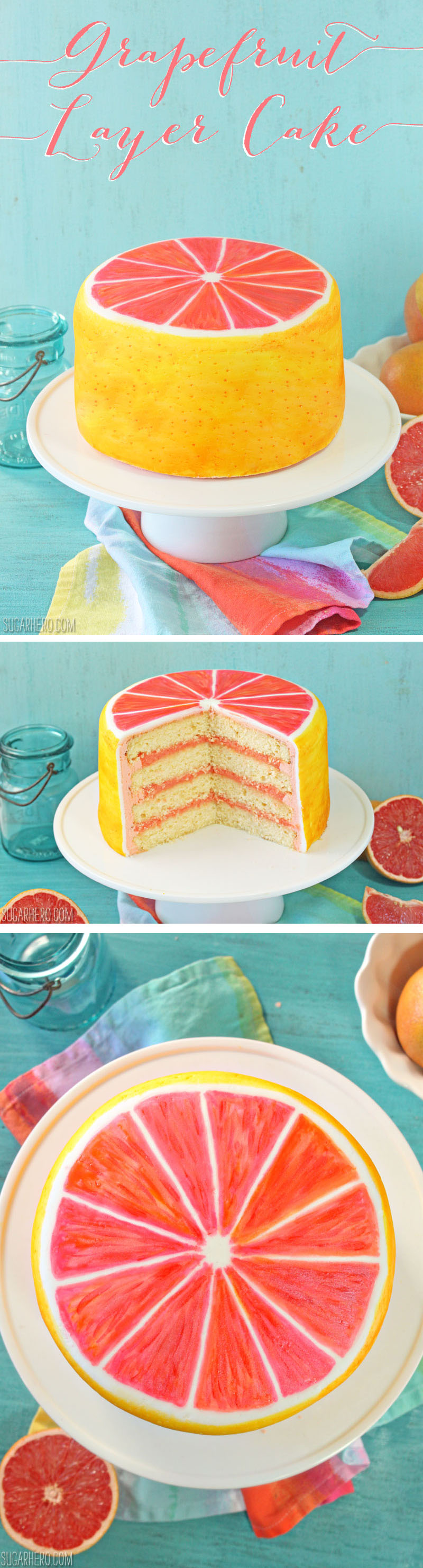 Grapefruit Layer Cake - with grapefruit cake, grapefruit curd, and grapefruit buttercream! | From SugarHero.com