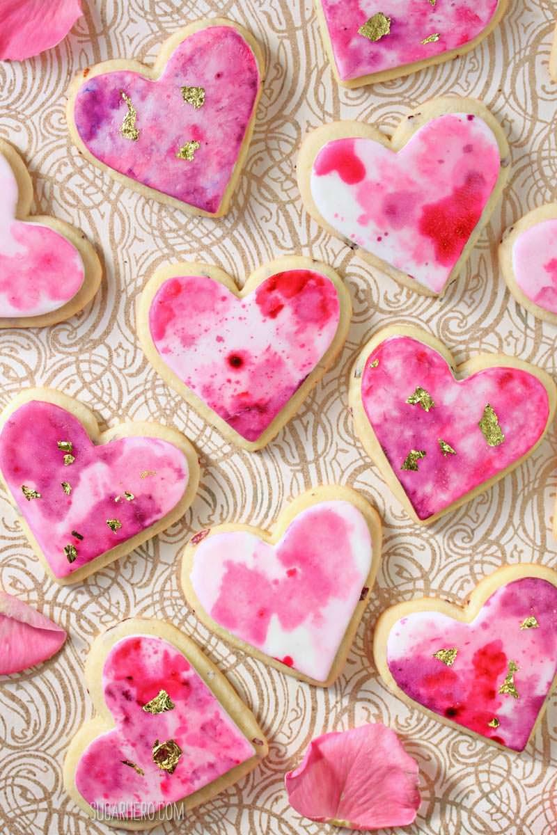 Watercolor Rose Sugar Cookies are gorgeous, romantic sugar cookies with a beautiful watercolor design | From SugarHero.com