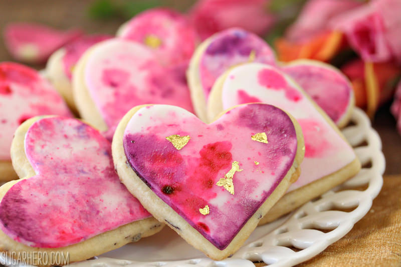 Watercolor Rose Sugar Cookies are gorgeous, romantic sugar cookies with a beautiful watercolor design | From SugarHero.com