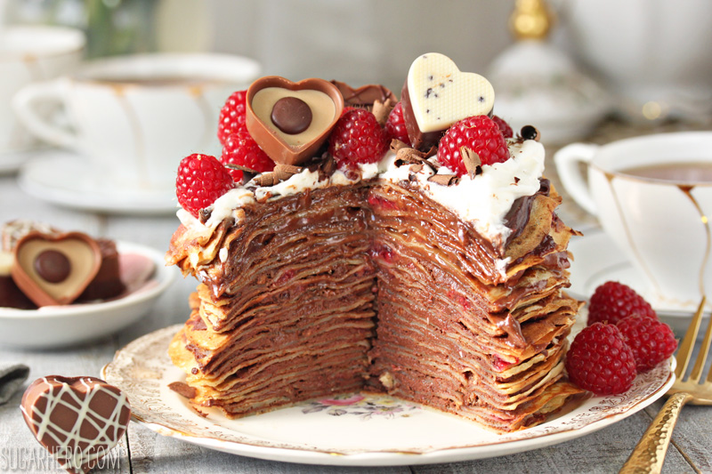 Chocolate Raspberry Mini Crepe Cakes - gorgeous mini cakes made with crepes, chocolate, and raspberries! | From SugarHero.com