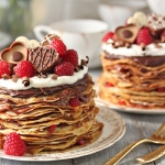 Chocolate Rasperry Mini Crepe Cakes