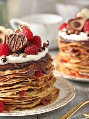 Chocolate Raspberry Mini Crepe Cakes | From SugarHero.com
