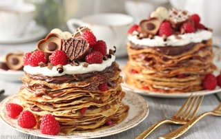 Chocolate Raspberry Mini Crepe Cakes | From SugarHero.com