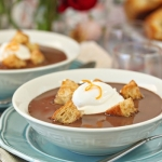 Chocolate Soup With Croissant Croutons