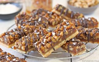 Salted Honey Walnut Bars | From SugarHero.com