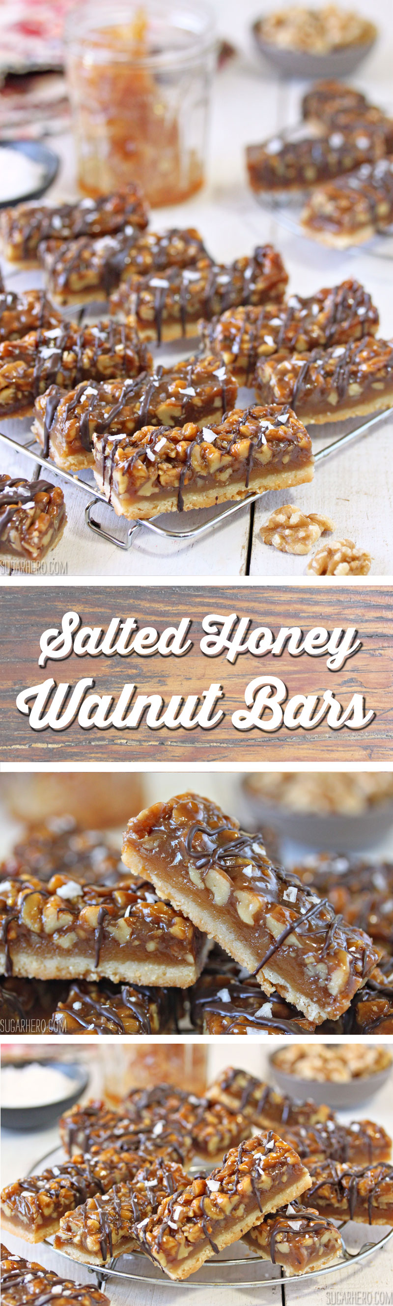 Salted Honey Walnut Bars | From SugarHero.com