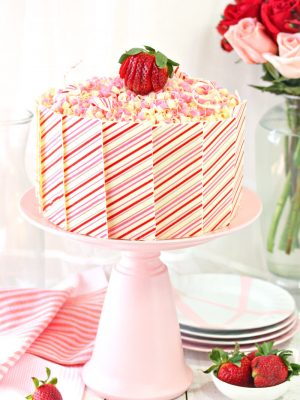 Strawberries and Cream Layer Cake | From SugarHero.com