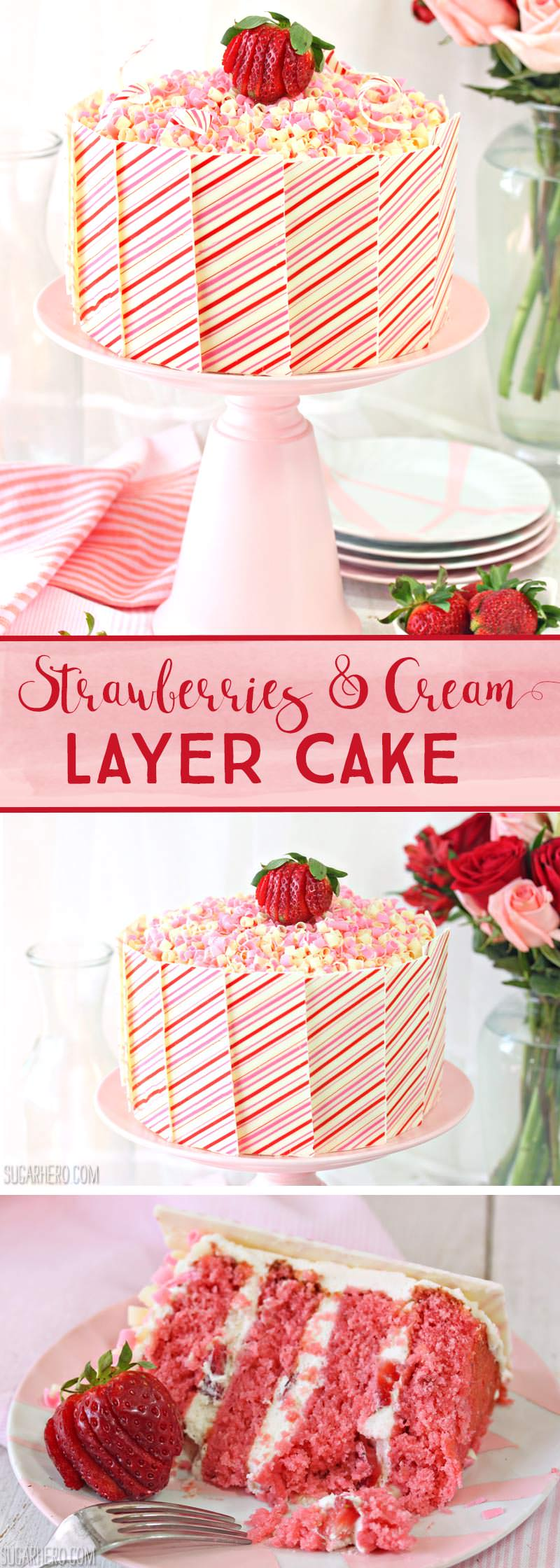 Strawberries and Cream Layer Cake - with moist strawberry cake, fresh berries, and whipped cream! | From SugarHero.com