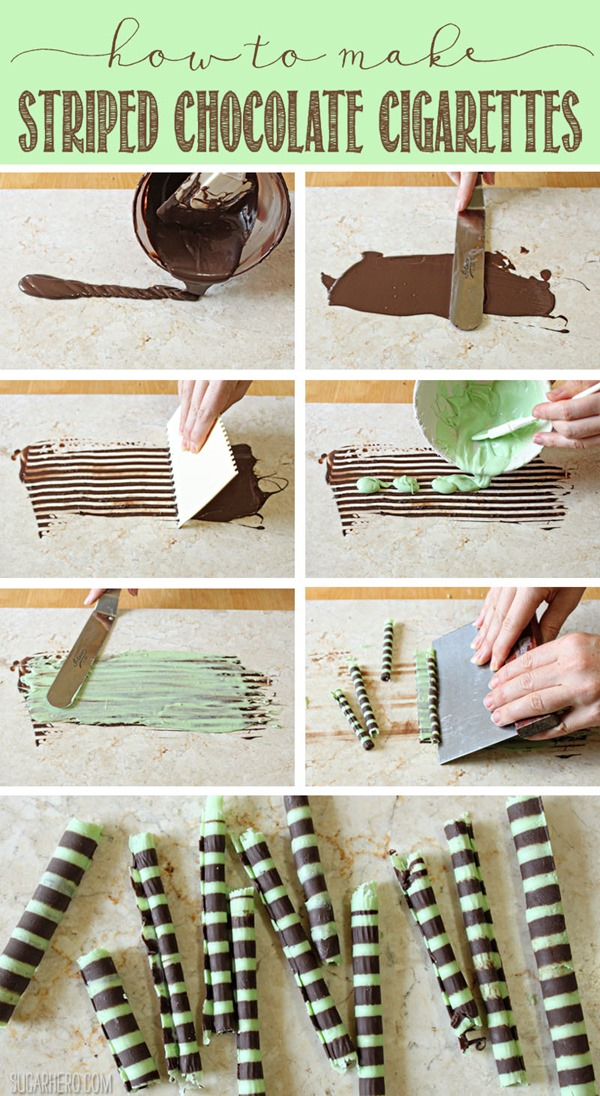 How to Make Striped Chocolate Cigarettes | From SugarHero.com