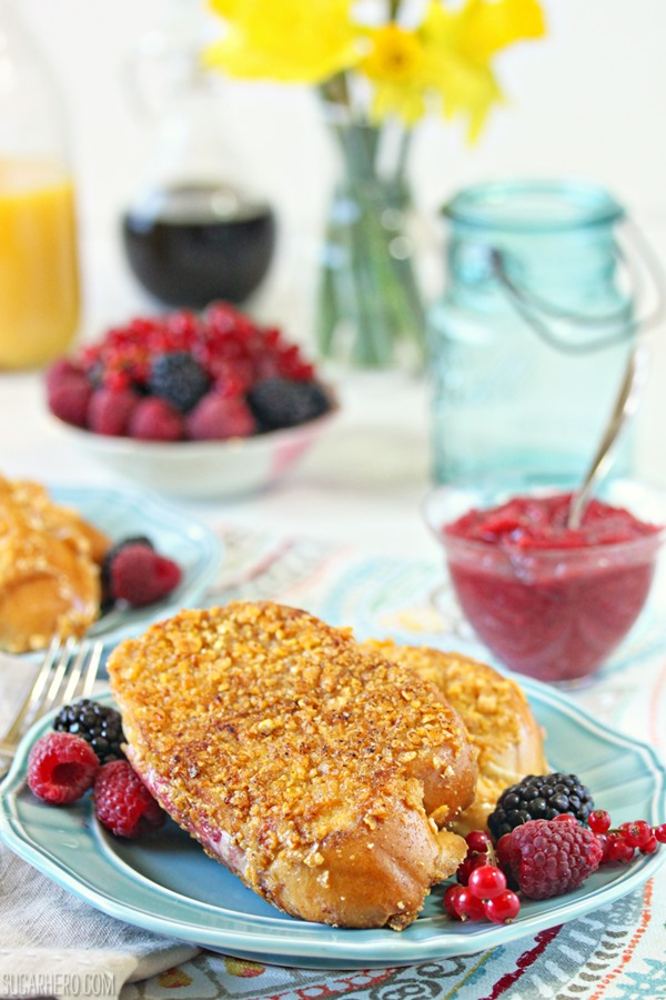Mascarpone Rhubarb Stuffed French Toast | From SugarHero.com