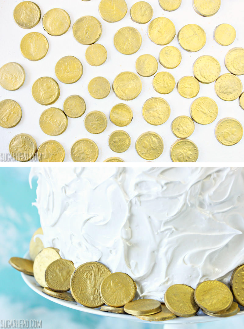 Edible Gold Chocolate Coins for a Rainbow Cake! | From SugarHero.com