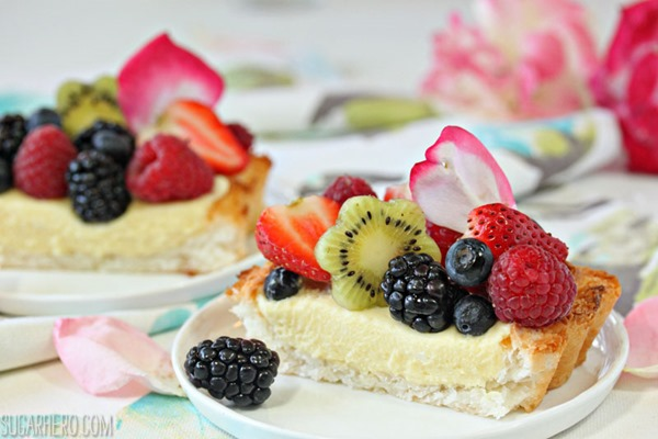 Coconut Macaroon Tart With Passion Fruit Cream | From SugarHero.com