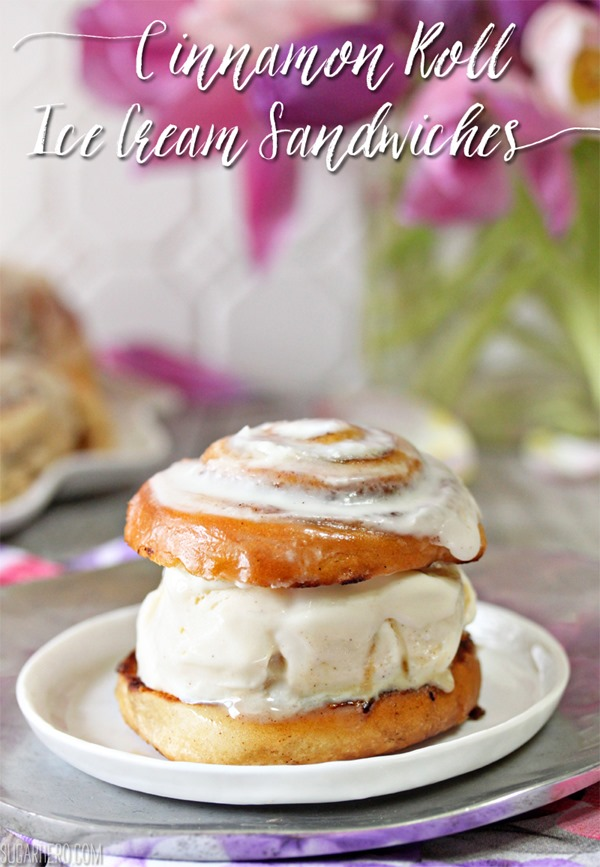 Cinnamon Roll Ice Cream Sandwiches with Cream Cheese Ice Cream | From SugarHero.com
