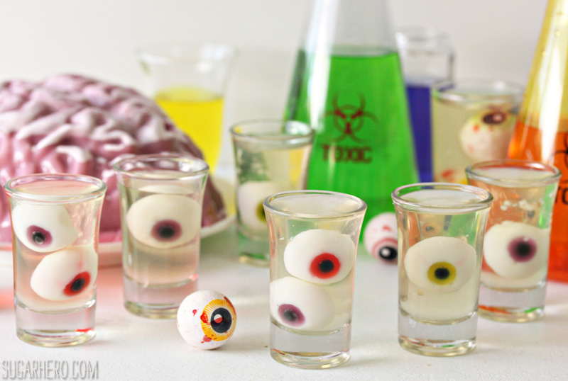 Floating Eyeball Jello Shots | From SugarHero.com