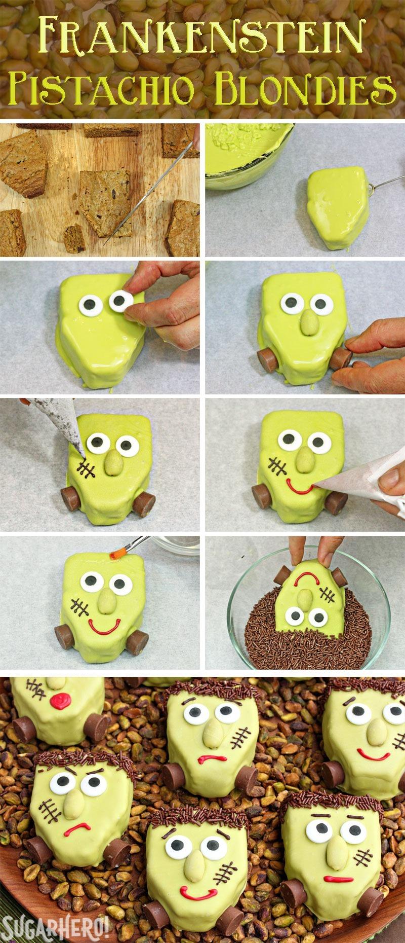 How to Make Frankenstein Pistachio Blondies | From SugarHero.com