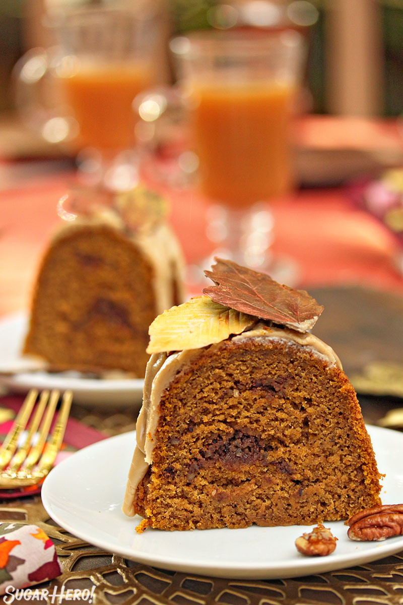 Cinnamon Swirl Pumpkin Pound Cake | From SugarHero.com