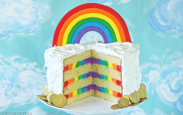 Rainbow in the Clouds Cake | From SugarHero.com