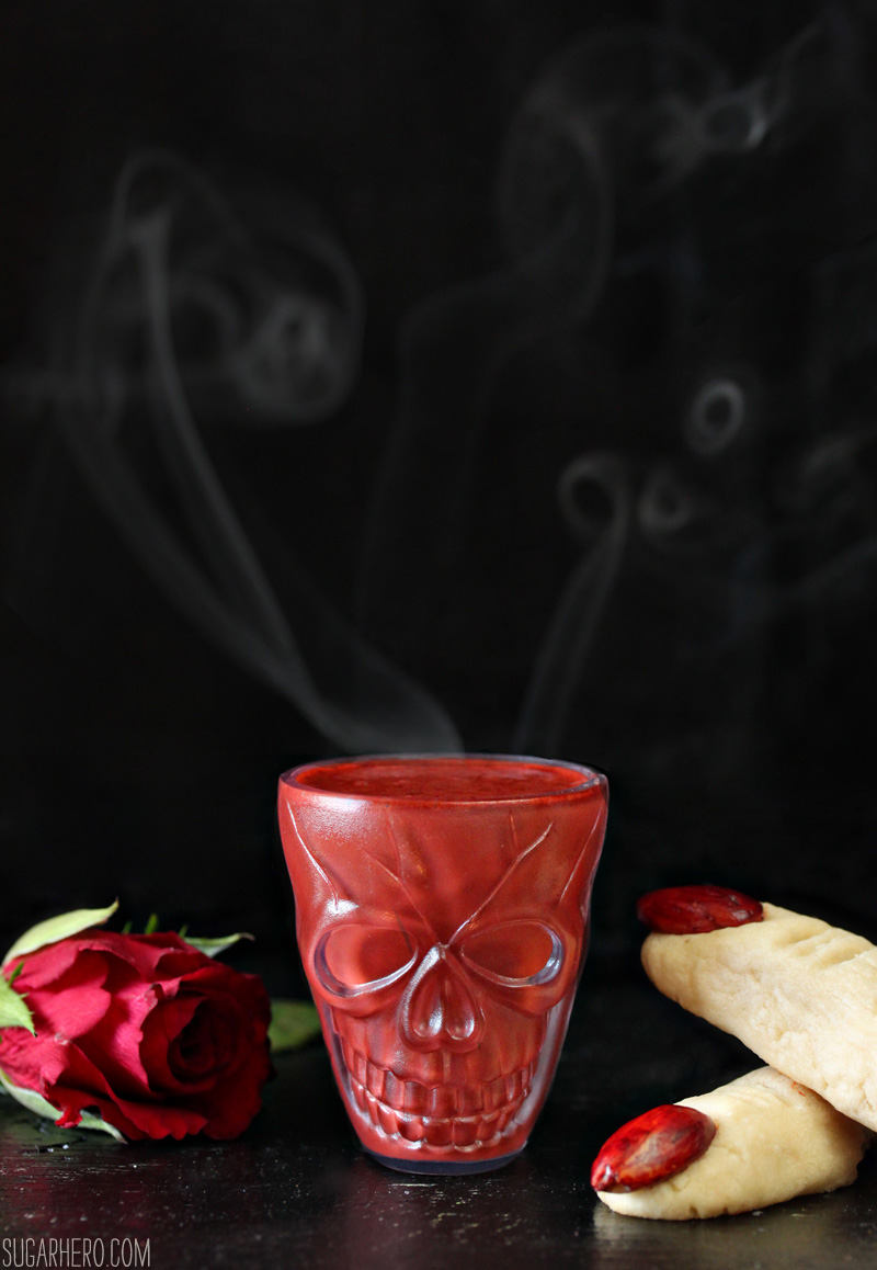 Red Velvet Hot Chocolate - an easy and spooky Halloween drink! | From SugarHero.com