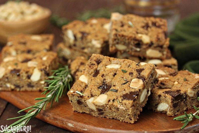 Rosemary Almond Blondies | From SugarHero.com