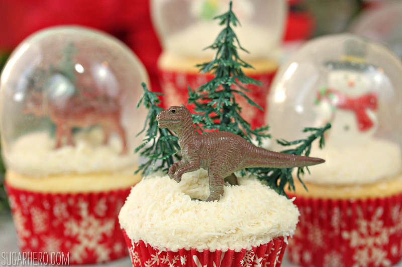 Snow Globe Cupcakes with Gelatin Bubbles | From SugarHero.com