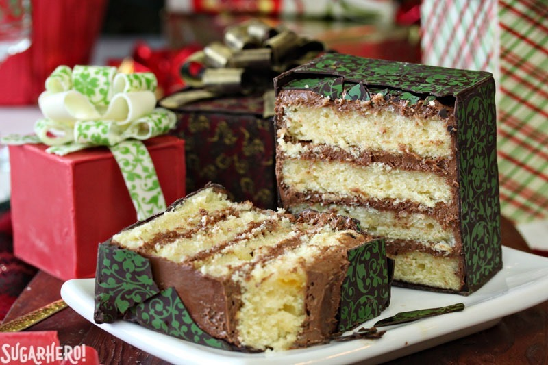 Chocolate-Wrapped Present Cakes | From SugarHero.com
