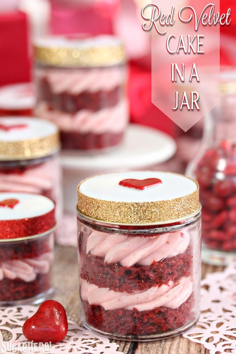 Red Velvet Cake In A Jar - layers of red velvet cake and strawberry ...