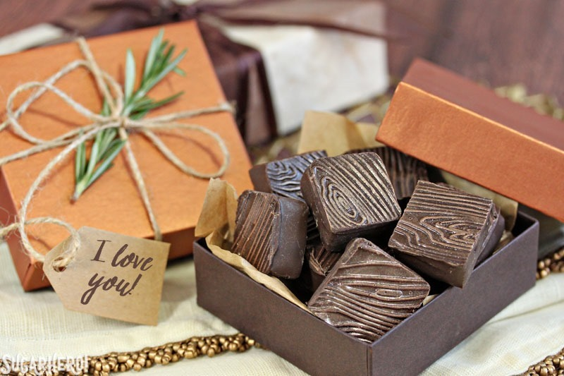 "Rosemary Raspberry Truffles - box of chocolate truffles, wrapped with twine, a rosemary sprig, and an ""I Love You"" tag 