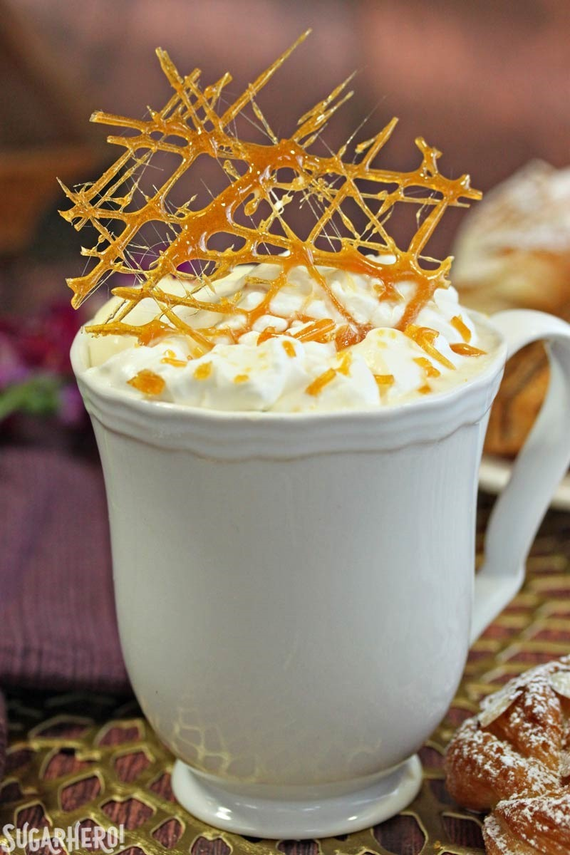 Creme Brulee White Hot Chocolate | From SugarHero.com