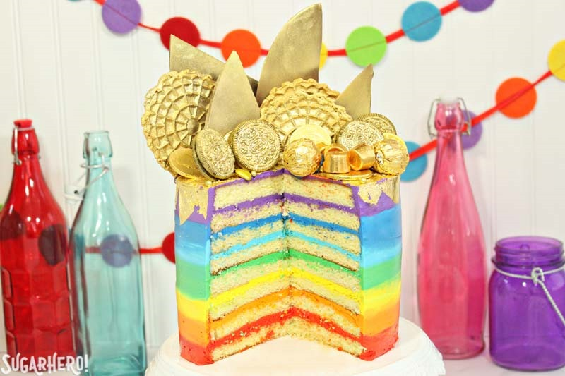 Pot of Gold Rainbow Cake   From SugarHero.com