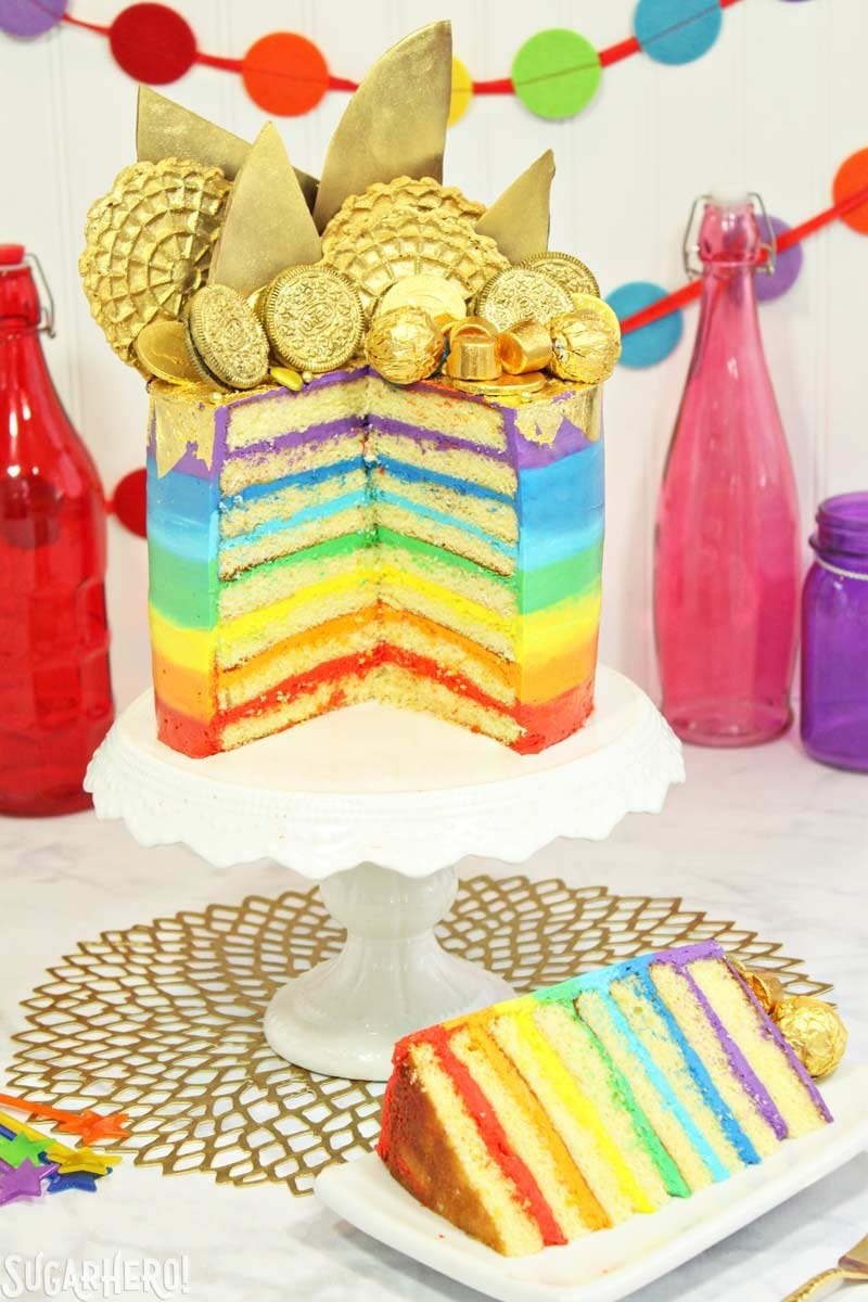 Pot of Gold Rainbow Cake | From SugarHero.com