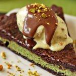 Pistachio Marzipan Brownie Tart