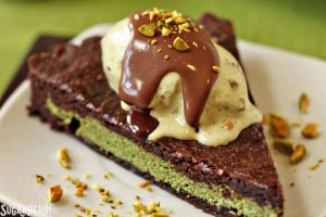 Pistachio Marzipan Brownie Tart | From SugarHero.com