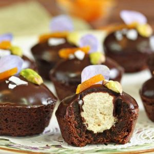 Nougat-Stuffed Brownie Bites | From SugarHero.com