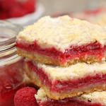 Raspberry Rhubarb Almond Bars | From SugarHero.com