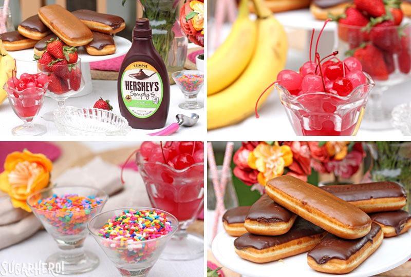 Doughnut Ice Cream Sundaes | From SugarHero.com