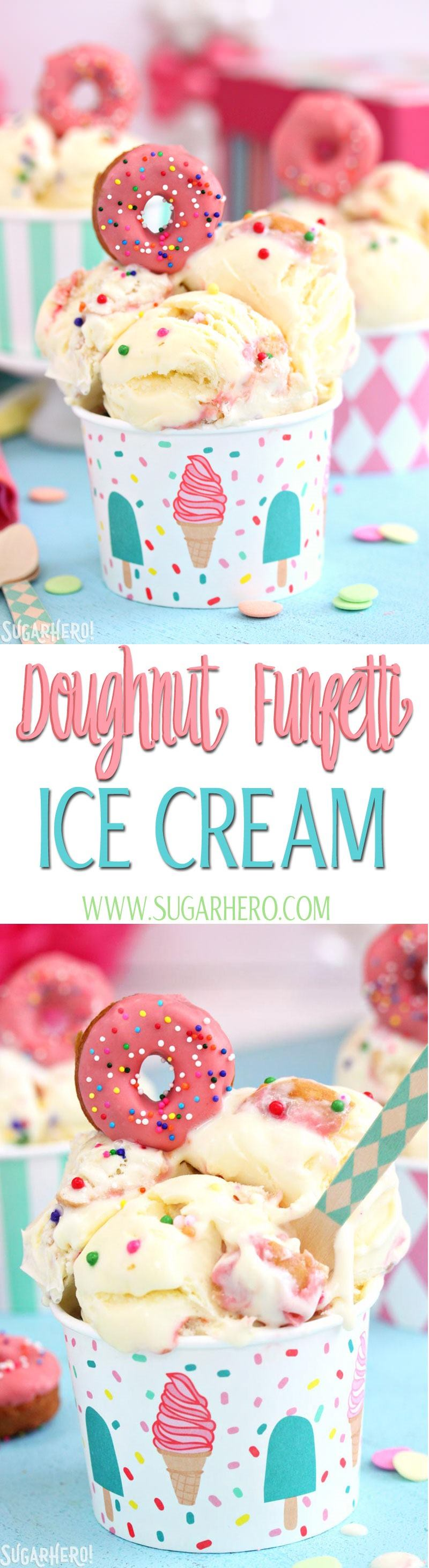 Doughnut Funfetti Ice Cream | From SugarHero.com