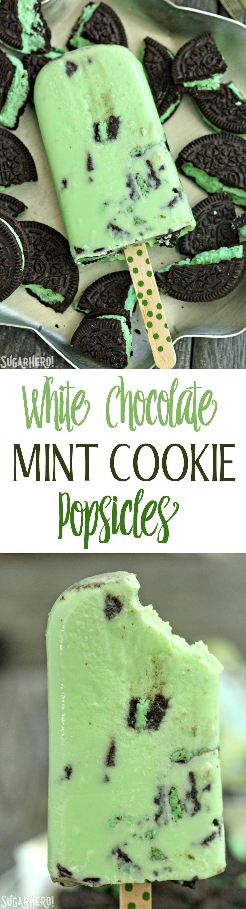 White Chocolate Mint Cookie Popsicles - SugarHero
