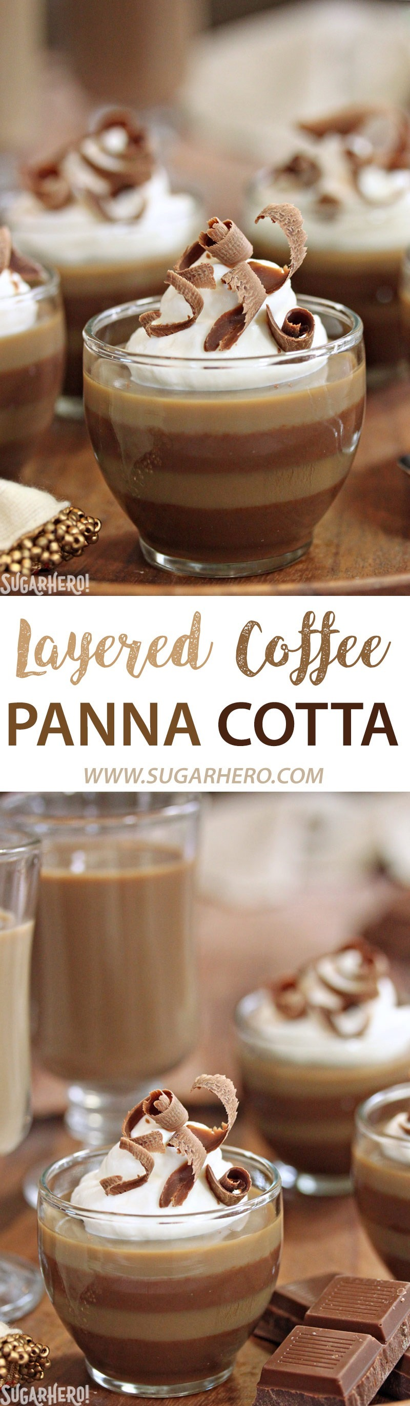 Layered Coffee Panna Cotta | From SugarHero.com