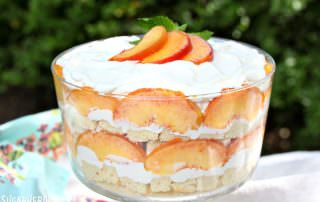 Peaches and Cream Trifle | From SugarHero.com