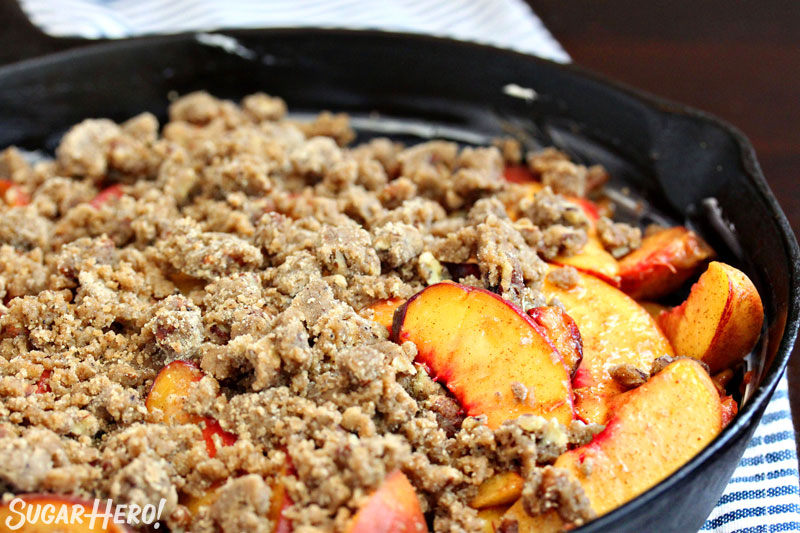 Brown Butter Skillet Peach Crisp | From SugarHero.com